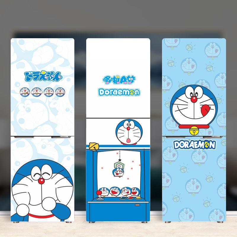 (冰箱貼紙 )(現貨)哆啦A夢冰箱貼紙自粘 創意卡通冰箱貼 多啦機器貓雙開門冰箱貼紙