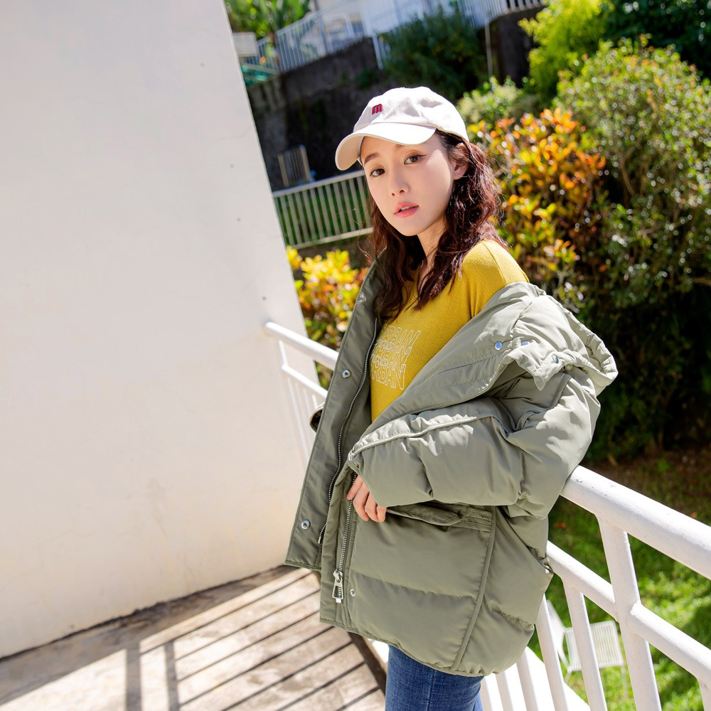 純色保暖高領防潑水長袖羽絨外套 《EA3008》