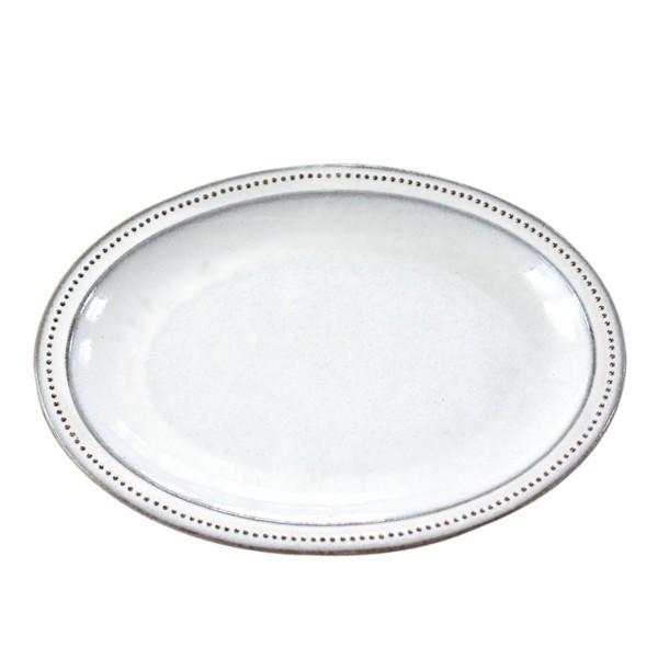 [偶拾小巷] 日本製 美濃燒 六魯 黑土粉引細點橢圓盤27cm 7593