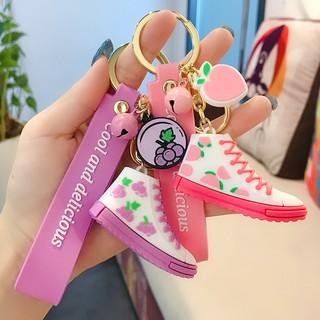 BM03 夏日繽紛滴膠帆布鞋鑰匙扣卡通可愛少女心包包汽車鑰匙鏈掛件批發