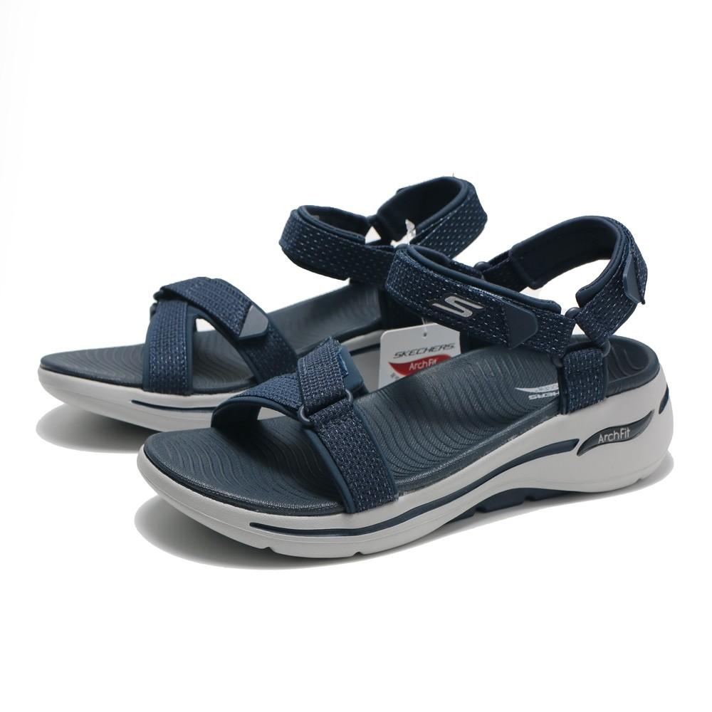 SKECHERS 涼鞋 ARCH FIT 深藍 灰 涼鞋 黏帶 女 (布魯克林) 140251NVY
