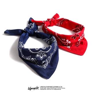 LifeCycle阿美咔嘰復古機車頭巾bandana腰果花領巾潮牌情侶小方巾