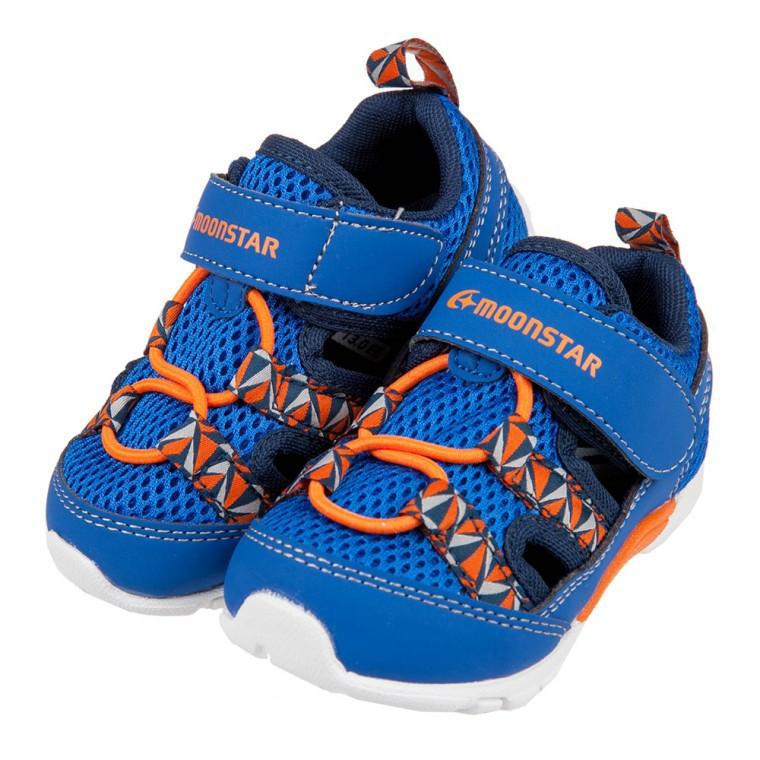 嘟嘟童鞋/(13~16公分)Moonstar日本寶藍網布透氣寶寶機能學步鞋