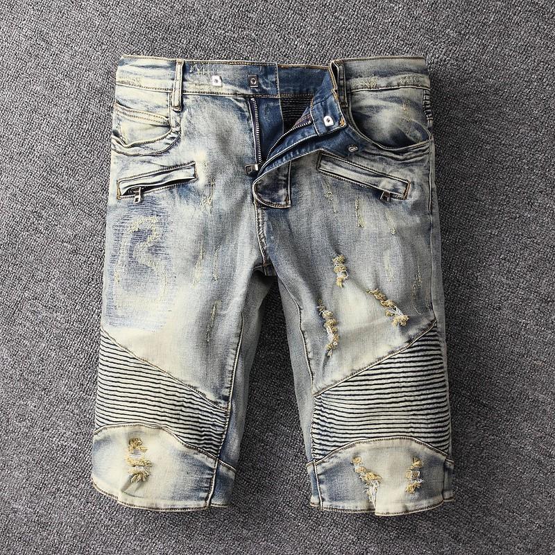 BALMAIN丹寧牛仔短褲 歐美風破洞時尚男士牛仔褲 巴爾曼彈力牛仔褲子 時尚牛仔褲 潮牌褲子