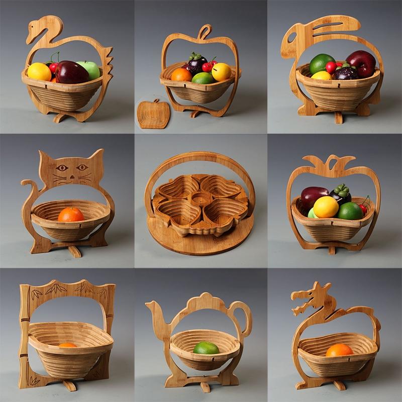 新款竹製水果籃子 摺疊水果籃 時尚創意竹籃 水果盆