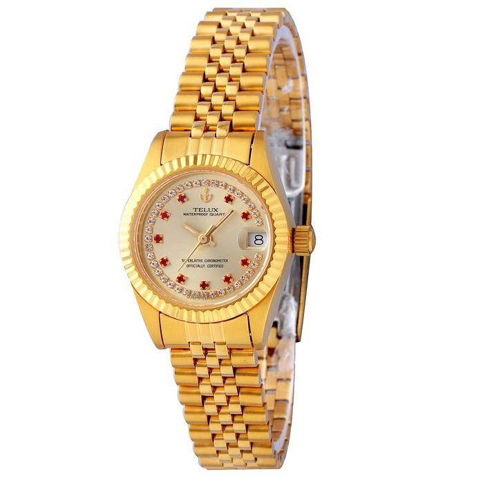 台灣品牌手錶腕錶【TELUX鐵力士鐘錶】尊爵系列經典女腕錶手錶26mm台灣製造石英錶復古金錶8903GA