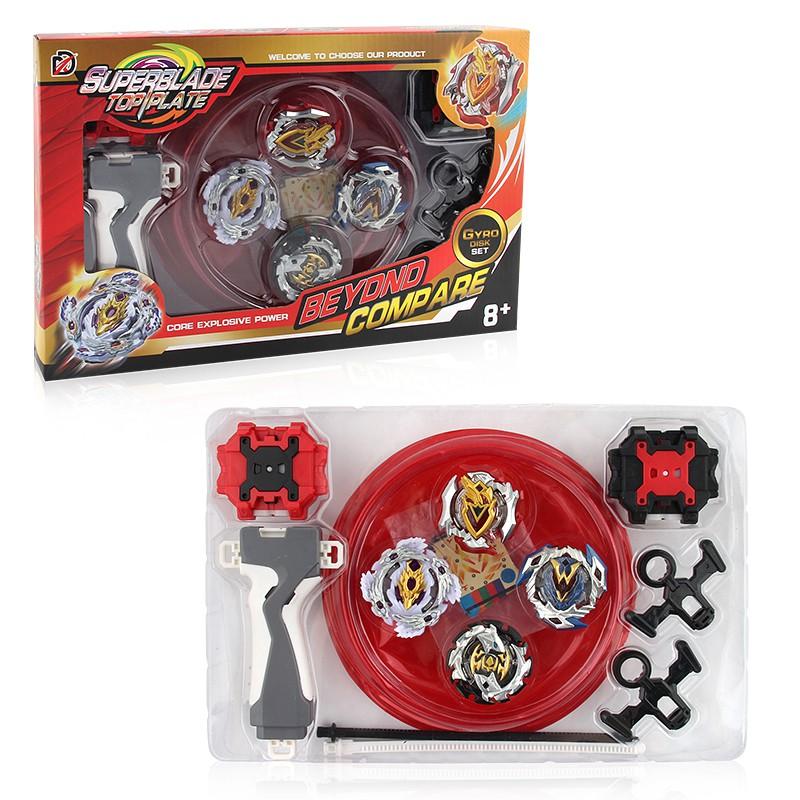 競技戰鬥陀螺4合1套裝 含4顆陀螺 1陀螺盤 2組雙向發射器 一握把 2條拉線 組裝陀螺 聖誕節禮物 兒童玩具 孩子禮物