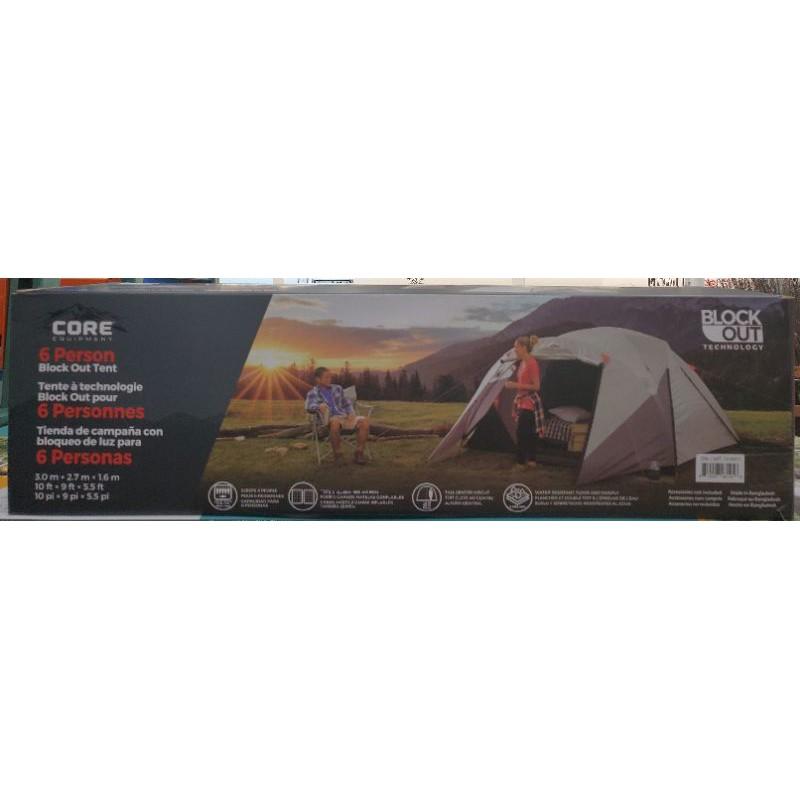 【小如的店】COSTCO好市多代購~CORE 全罩型六人黑膠帳篷-附營釘.營繩.收納袋(1入) 1318971