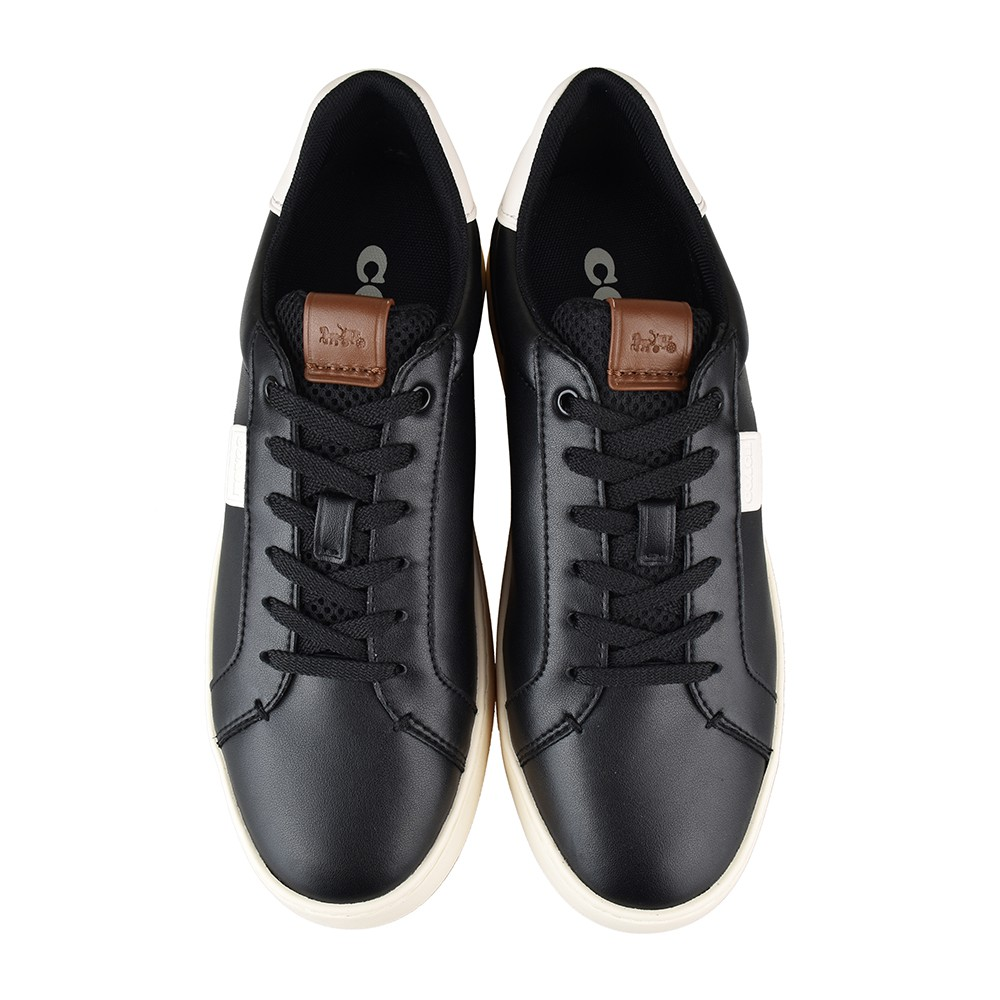 COACH專櫃款LOWLINE黑字LOGO光滑皮革低筒運動鞋(黑)
