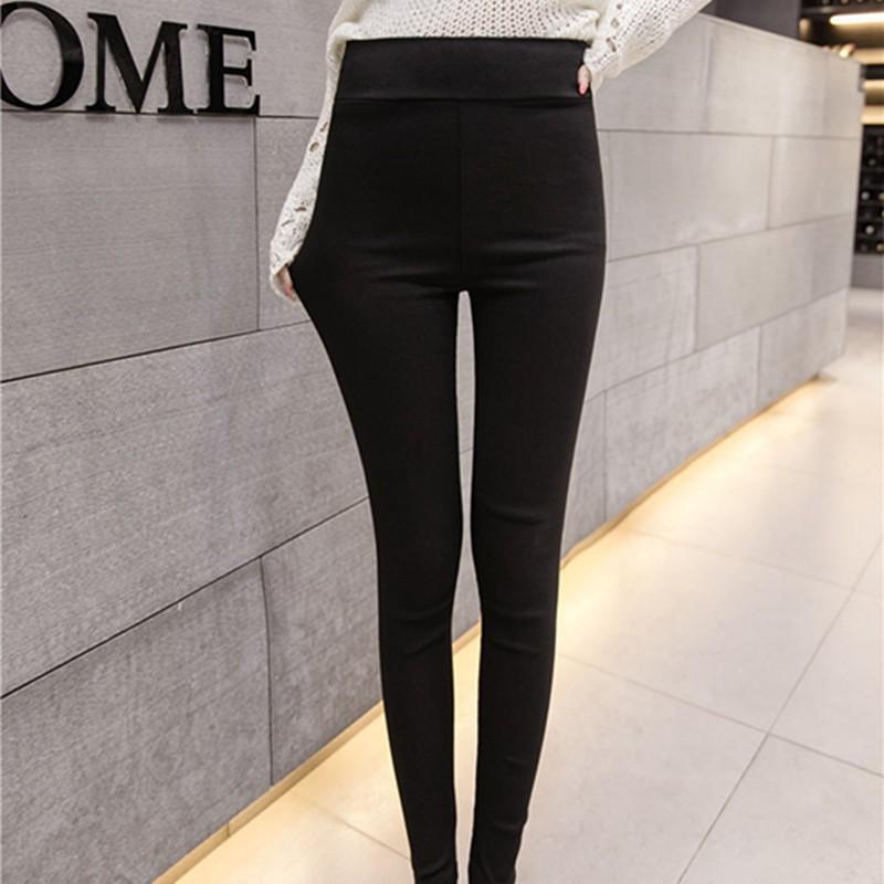 【現貨】實拍新款韓版黑色鉛筆褲內搭褲女閨蜜裝簡約合身顯瘦學院風韓鈕必備百搭素面後口袋鉛筆長褲
