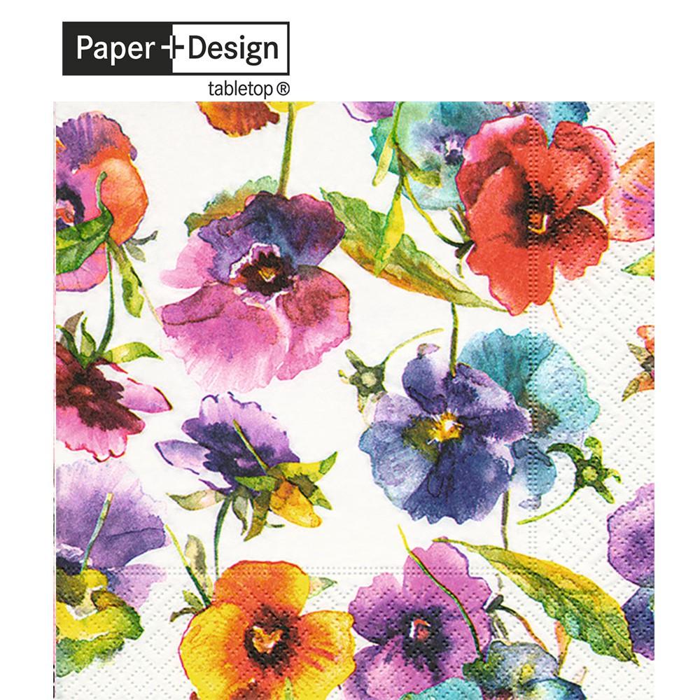 Paper+Design 德國進口餐巾紙 水彩三色堇 Watercolour pansies 20張/包