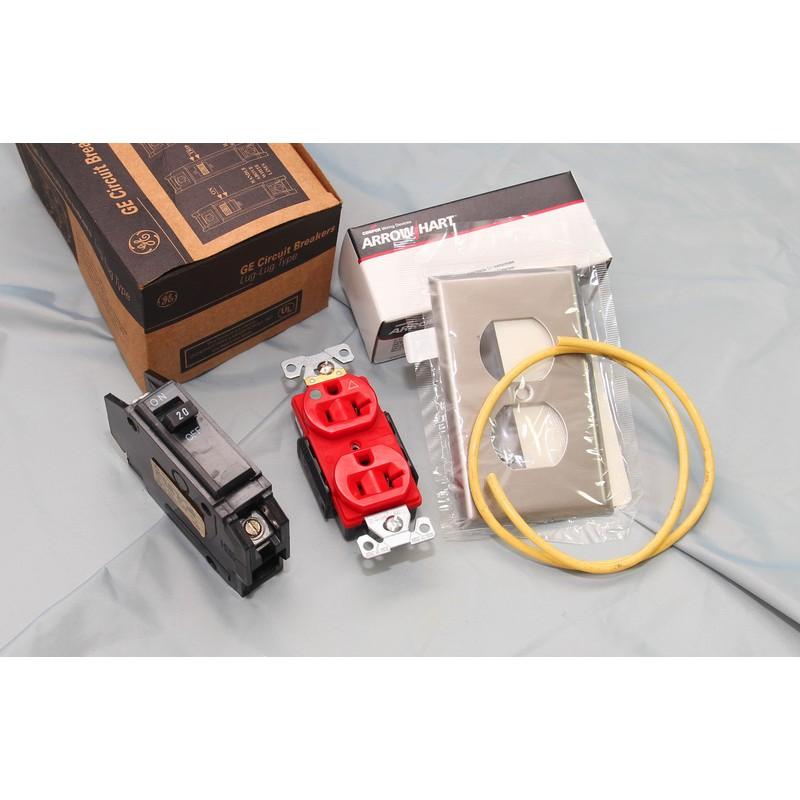 [山姆音響] 音響專用電源料理包--GE無熔絲開關+Cooper IG8300壁插及不銹鋼面蓋