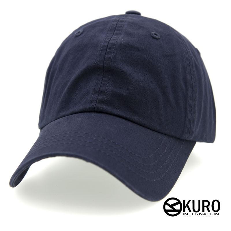 KURO-SHOP 韓版水洗深藍色老帽棒球帽布帽(可客製化電繡)