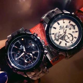 CASIO卡西歐手錶 三眼計時防水男錶 不鏽鋼錶帶男士鋼帶 錶盤石英腕錶 精品男士手錶 簡約手錶