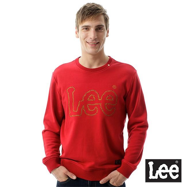 Lee 縫線logo圓領長袖厚TEE 男 紅 Mainline