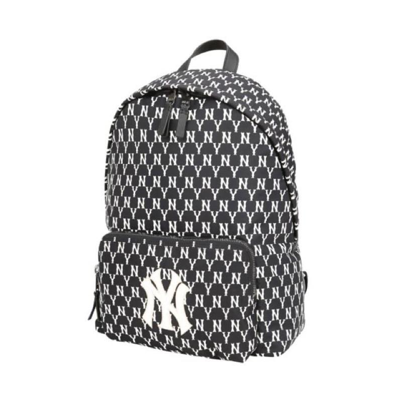 【現貨】降價🙌🏻🙌🏻ISNEAKERS MLB KOREA 洋基經典 刺繡LOGO 滿版 後背包 黑色