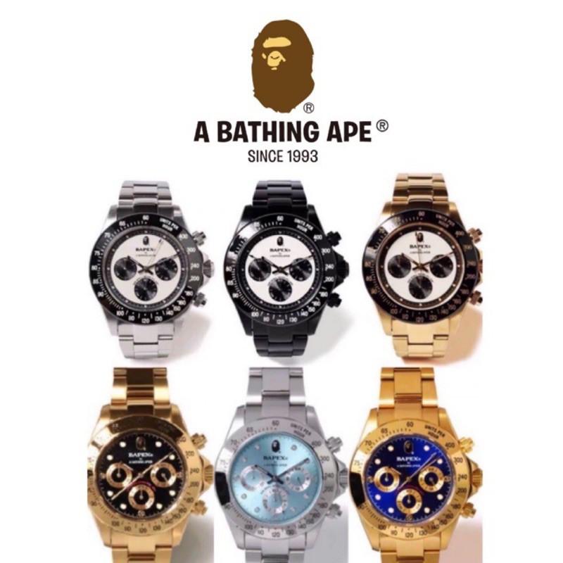 日本正品APE 手錶 猿人頭 猿力士bapex type3 手錶 石英錶 防水 精鋼 三眼 金色 銀藍 冰藍