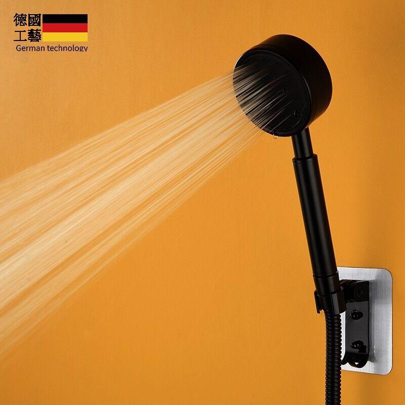 【免運  廠家現貨秒發】304不鏽鋼黑色增壓蓮蓬頭家用噴頭單頭免打孔手持淋浴軟管套裝