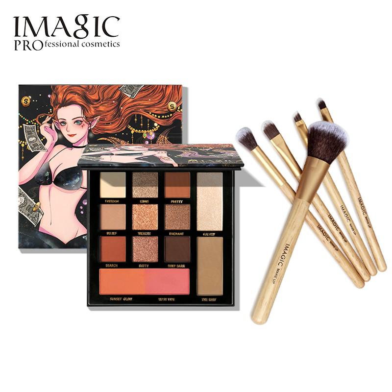 IMAGIC 美人魚系列眼影盤+5支化妝刷 彩妝組合 眼影刷套刷 新手套裝
