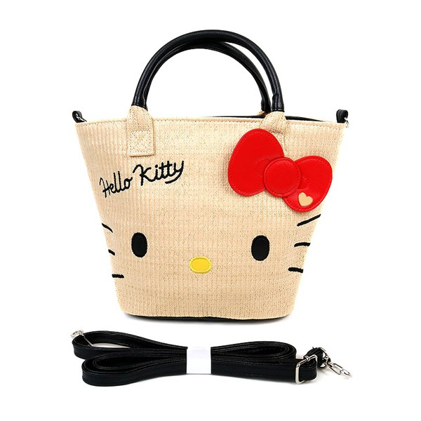 Hello Kitty夏日海灘風藤編手提斜背兩用海灘包/手提包/手提袋/斜背包/今日最便宜/貨到付款/現貨/禮物
