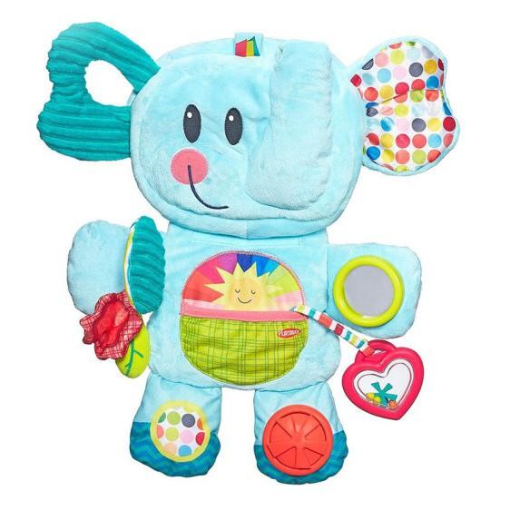兒樂寶playskool-小象布包-安撫遊戲墊 柔軟大象探索收納包(麗嬰兒童玩具館)