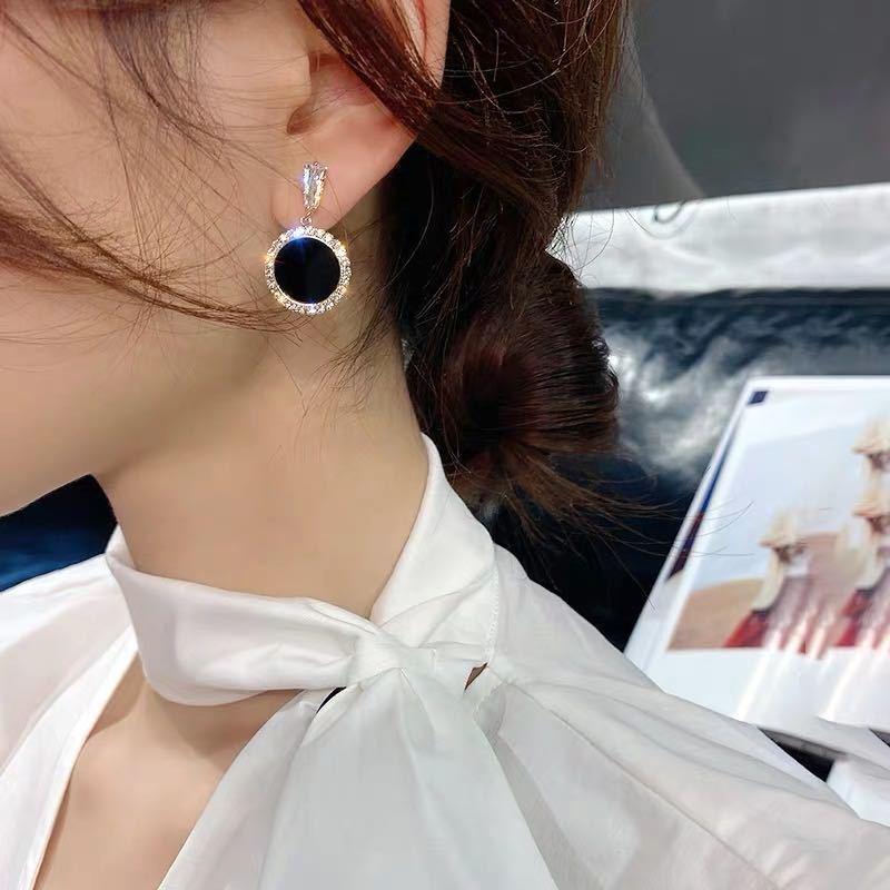 黑色方塊耳環超閃水晶925銀針耳釘女氣質個性百搭耳墜2020新款潮耳夾A632