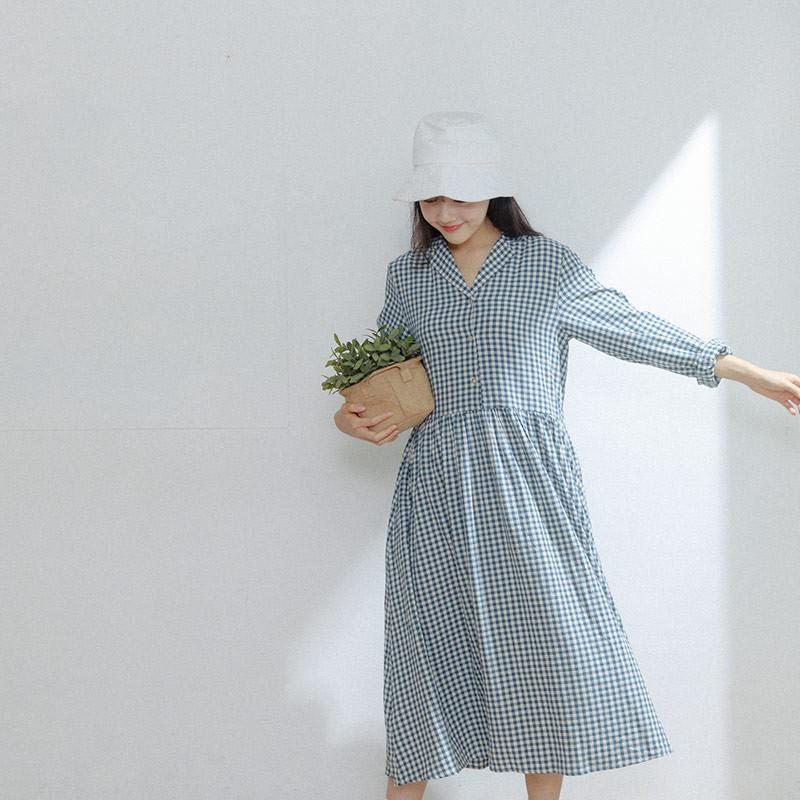 QUEENSHOP 女裝 古巴領配色方形格紋長洋裝 S/M 現+預【01085121】