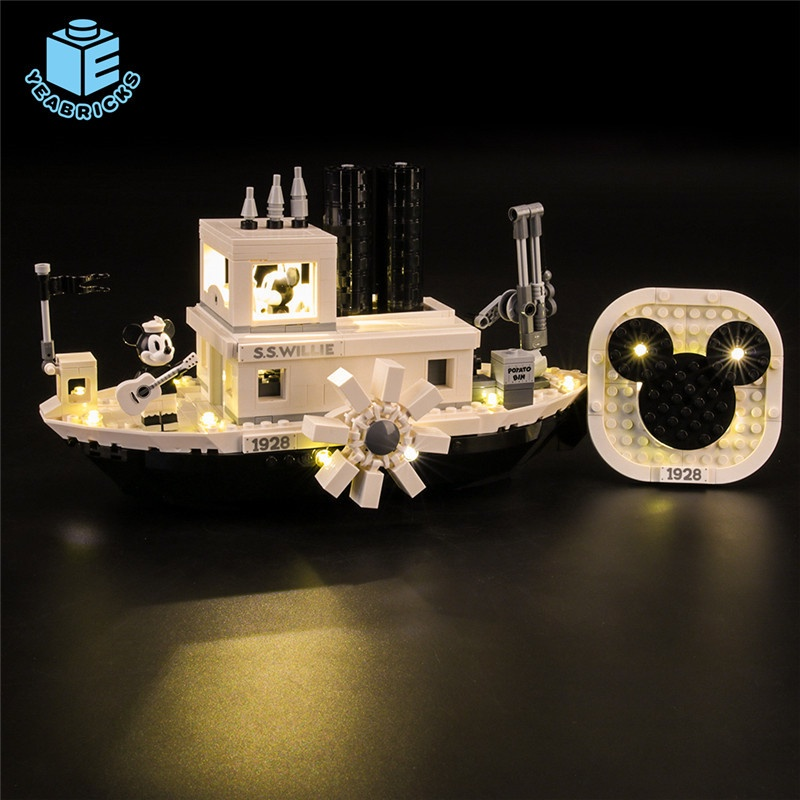 Maomao8911-Yeabricks兼容樂高21317迪尼米奇威利號汽船LED燈飾DIY積木燈光**