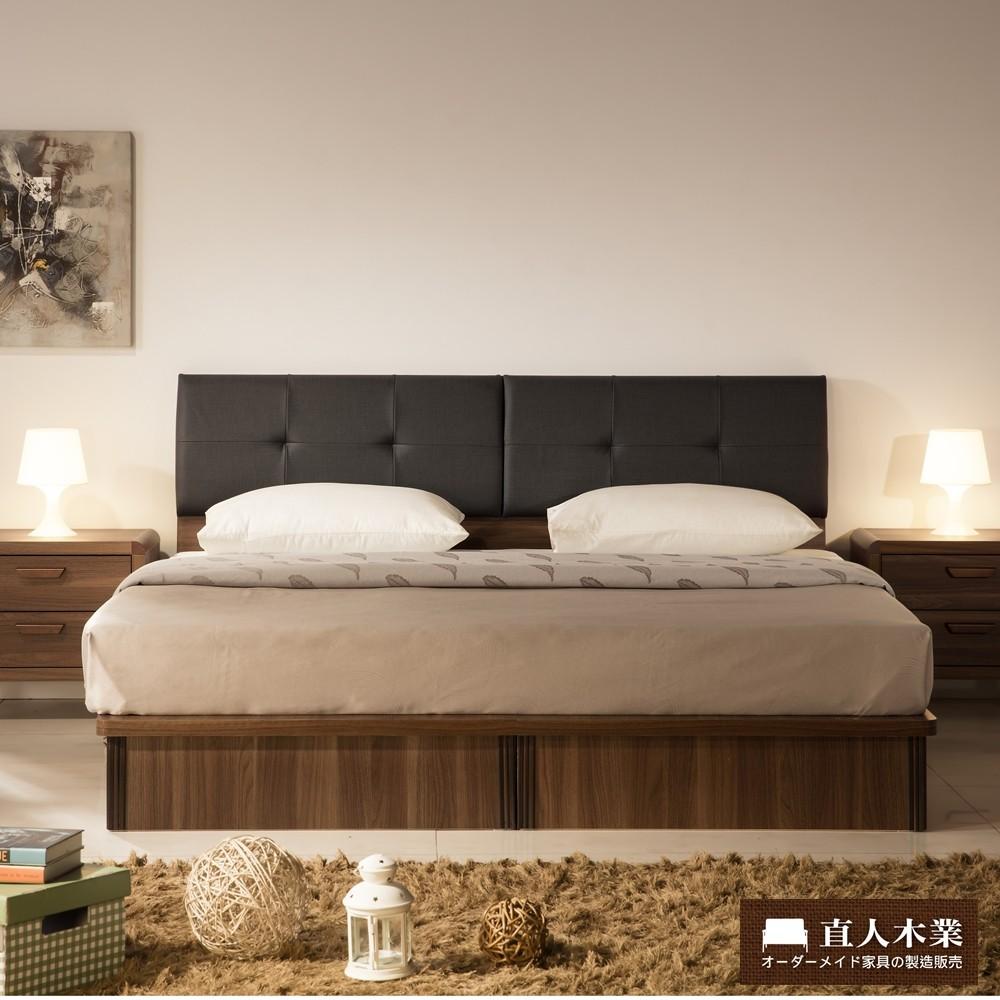 【日本直人木業】Industry平面5尺標準雙人抽屜生活床組(床底有2個收納抽屜)