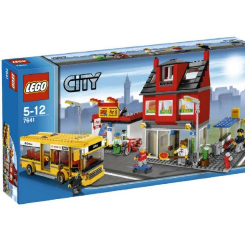 二手樂高lego7641城市系列披薩店公車站
