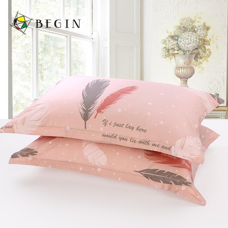 【枕套熱銷【一對裝】Begin全棉ins風枕套一對套裝純棉少女枕頭套48 74cm 現貨 pU0l