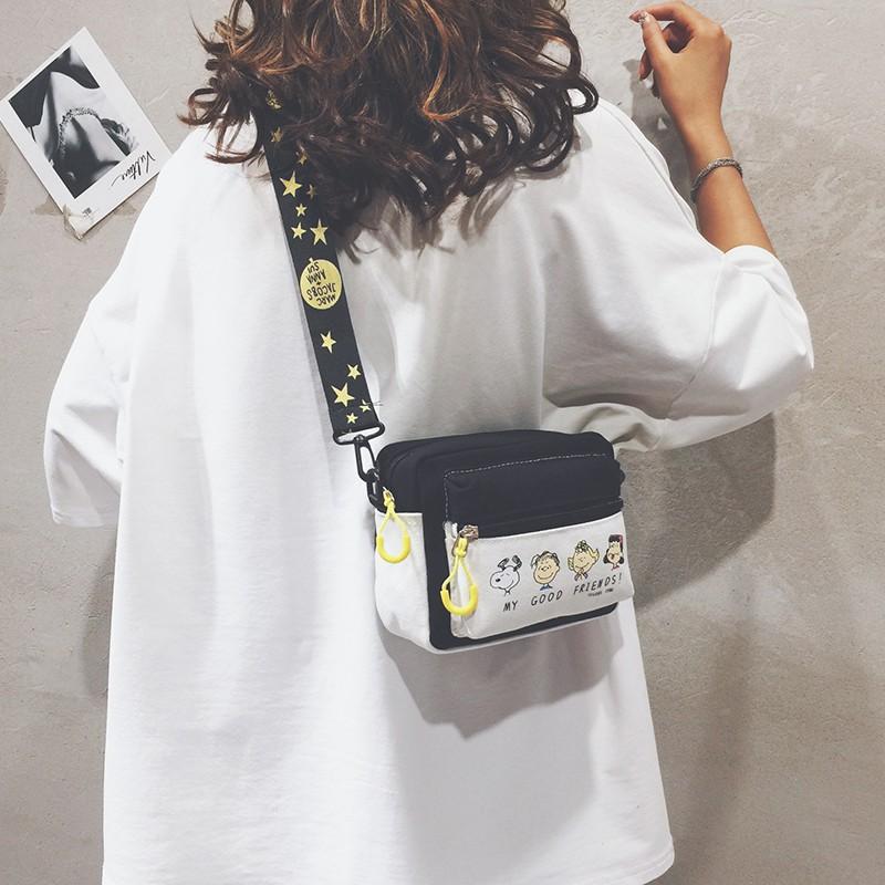 【現貨免運】時尚斜背包側背包錢包手機包卡通小包包女2020新款網紅洋氣史努比包潮韓版寬帶帆布單肩斜挎包