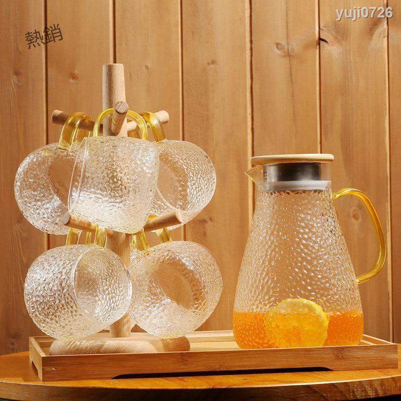 【優品】冷水壺耐高溫錘紋涼水杯套裝透明家用玻璃涼白開水杯大容量涼水壺