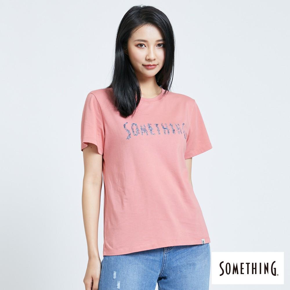 SOMETHING 靛藍花朵LOGO短袖T恤-(珊瑚粉)-女款