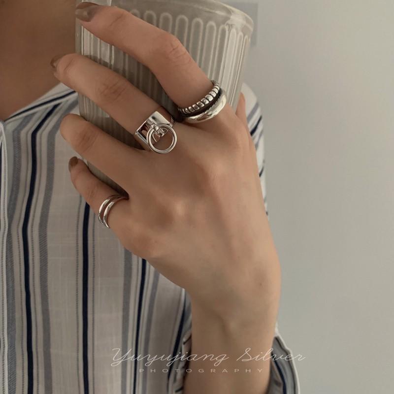 ✲☏►YUYUJIANG歐美街頭港風925純銀戒指麻花光面吊環食指戒雙層尾戒女