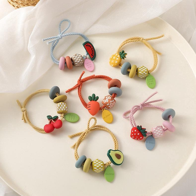 韓版水果彩珠發繩 橡皮筋 高彈力 網紅頭飾 髮圈 扎頭髮 女生 配件 可愛 草莓發繩 胡蘿蔔發繩 鳳梨發繩