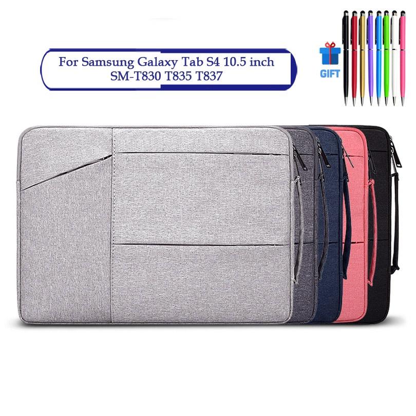 三星 Galaxy Tab S4 10.5 英寸 Sm-T830 T835 T837 防水筆記本拉鍊手提包盒