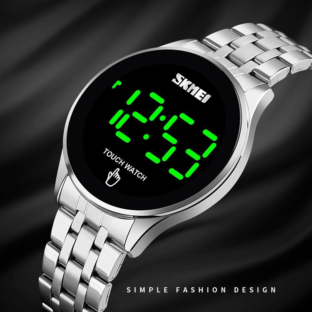 SKMEI運動手錶男士頂級奢華不銹鋼錶帶男士手錶防水腕錶