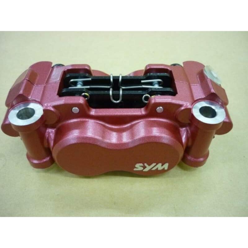 SYM- T2 前右煞車卡鉗總成(紅)