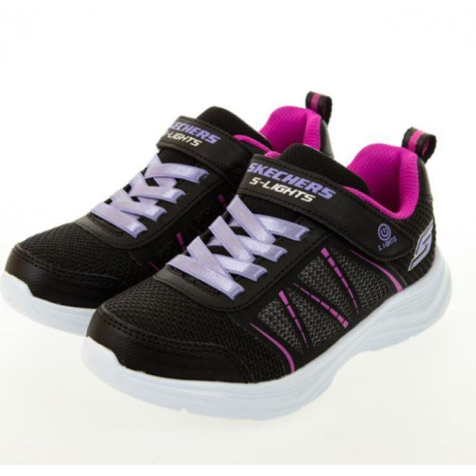 SKECHERS GLIMMER KICKS女童燈鞋 NO.302302LBLK
