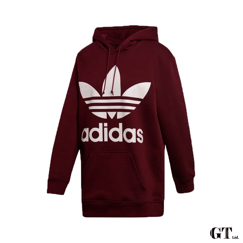 Adidas Originals 酒紅 連帽T恤 女款 寬鬆 運動 休閒 棉質 上衣 基本款 三葉草 DH3152
