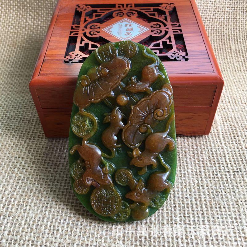 【廠商直銷】 n大號干青玉牌子緬甸翡翠鐵龍生五鼠運財掛件 玉器吊墜項鏈