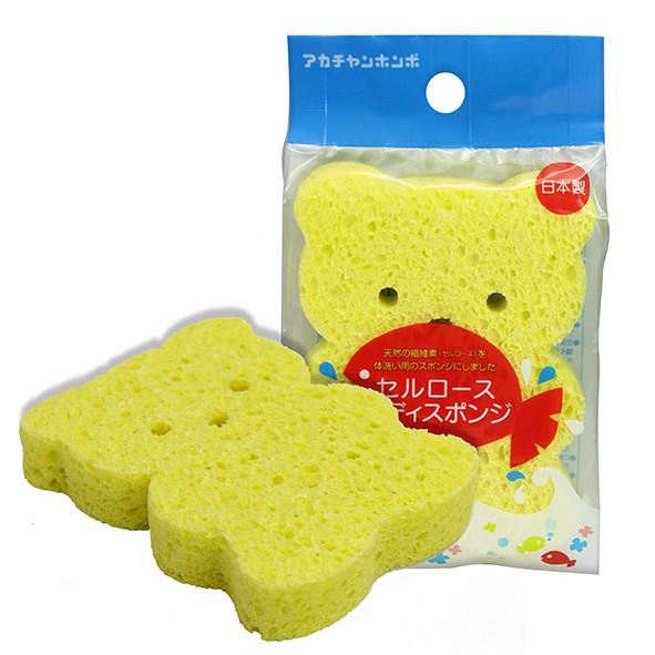 阿卡將本舖 木漿纖維嬰兒洗澡海棉-綠蛙