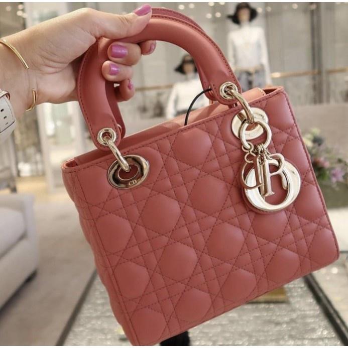 全新法國正品 Dior(迪奧) Lady Cannage 玫瑰粉 4格 羊皮 菱格 戴妃包 M05380