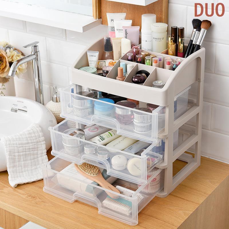 【收納化妝品下殺新品】化妝收納盒整理盒家用超大號桌面簡約公主抽屜式透明防塵梳妝盒