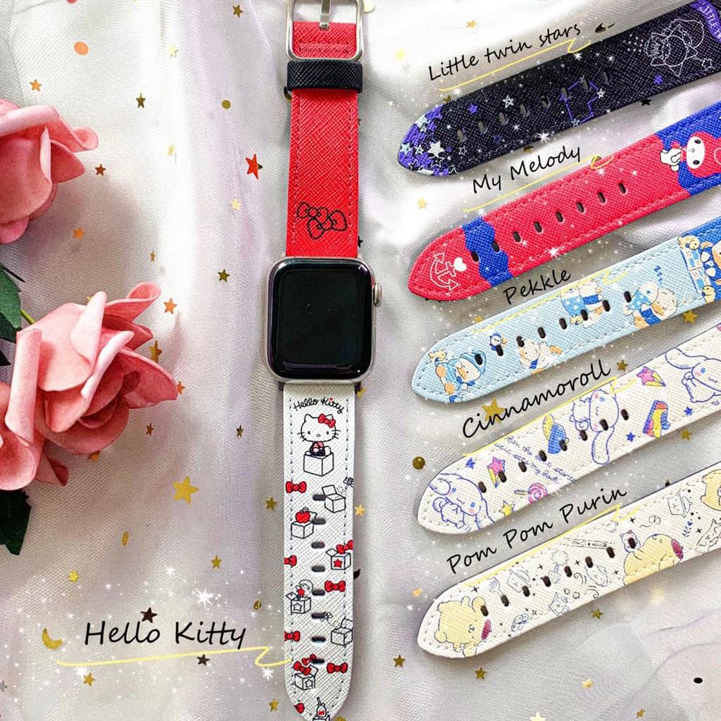 【Hong Man】三麗鷗 系列 Apple Watch 皮革 錶帶 Hello Kitty
