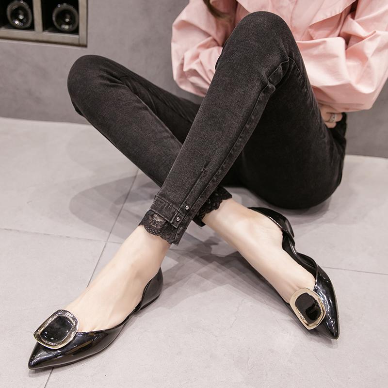 S-5XL大尺碼衣著 秋季牛仔褲外穿高腰女褲顯瘦黑色胖MM200斤彈力窄管褲潮