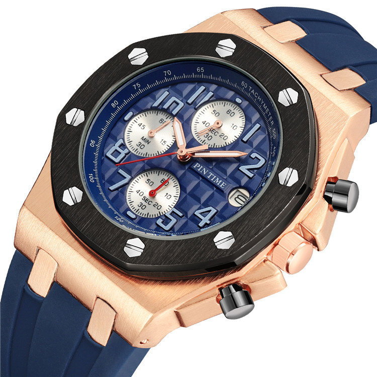 PINTIME皇家同款橡樹手錶奢侈風多功能男錶運動小三針防水夜光錶