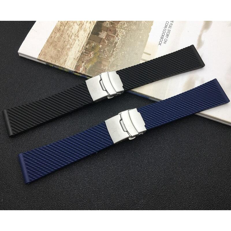 適用於 Navitimer / Breitling 錶帶工具的高品質藍色黑色柔軟矽橡膠錶帶 24 毫米錶帶手鍊