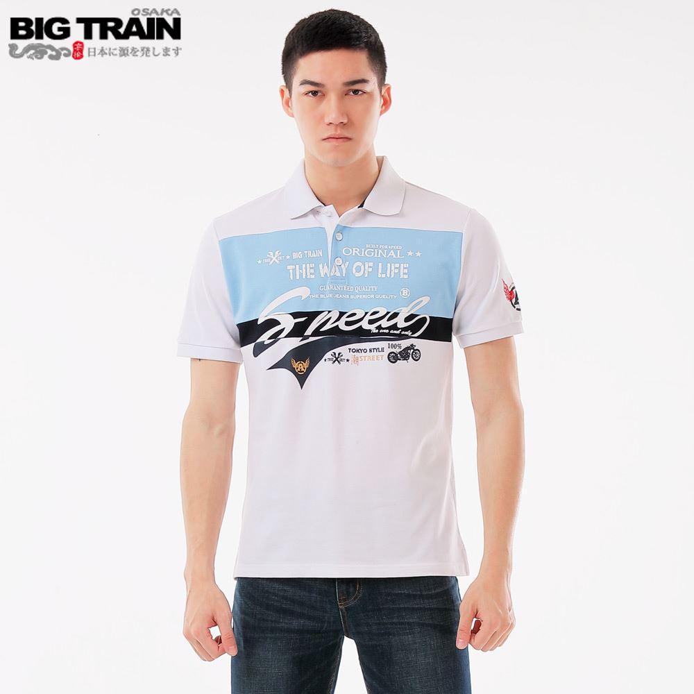 BIG TRAIN 配色休閒POLO衫-白